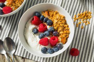 Healthy Organic Greek Yogurt with Granola and Berries
